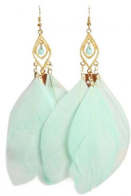Mint Green Feather Earrings with Crystals