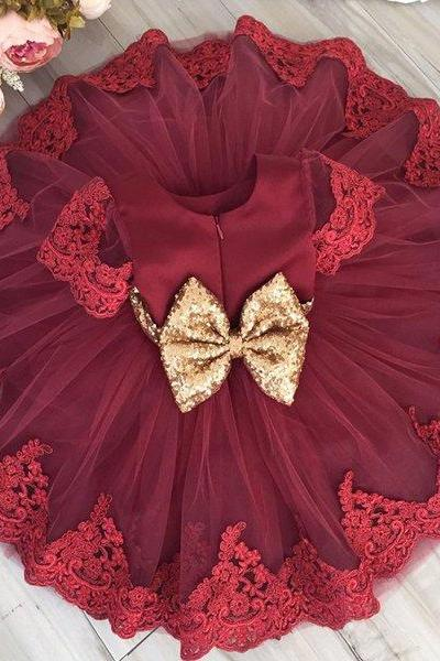 Red Dress for 3-6 Months Ready for Shipping Short Sleeves Birthday Party Red Dress Free Golden Bow Headband
