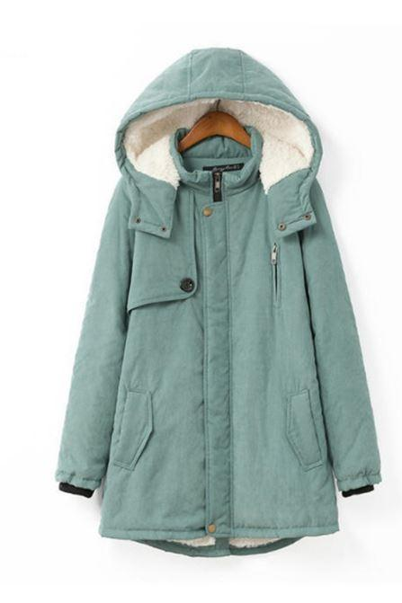 Mint Green Jacket Coat faux Fur Shaggy Style