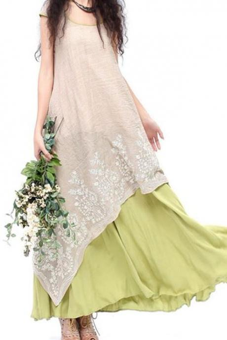 Short Sleeves Ivory Dress is On Sale Free Shipping Linen Maxi Dresses for Women and Teenage Girls