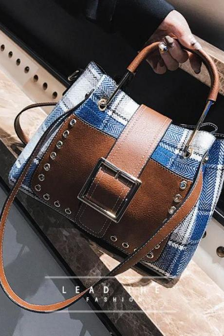 FREE Bracelet for Plaid Tote Bags for Women Cute Semi-Denim Blue Checkered Purses for Women