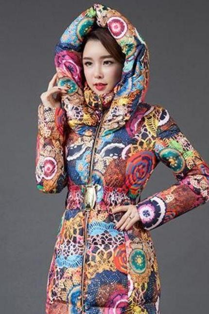 Hooded Winter Parka for Women Multicolor Parka with Free Scarf and Free Beanie