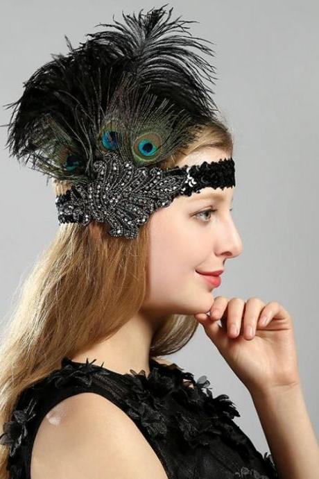Tall Peacock Feathers for Costume Headbands Peacock Fascinators Hair Accessories Headpiece for Women
