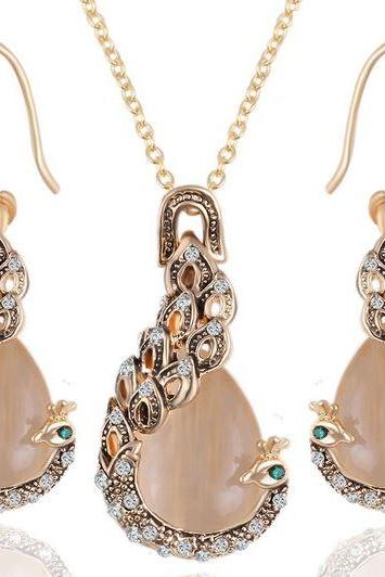 Peacock Jewelry Sets Peachy Gold Color