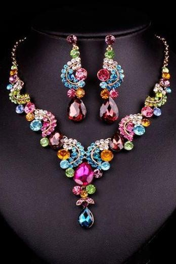 Luxury Peacock Jewelry Sets Colorful Gold Plated Sets