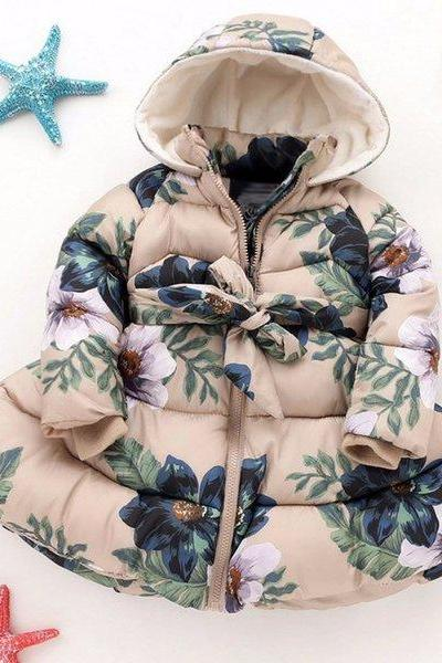 Thick Winter Trench Coats for Girls 3T Winter Jacket Beige Color Printed Floral Down Duck Cotton Parkas