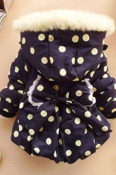 Polka Dots Newborn Coats Navy Blue Infant Coats 12 Months Winter Coats for Kids Blue Polka Dot Hoodies