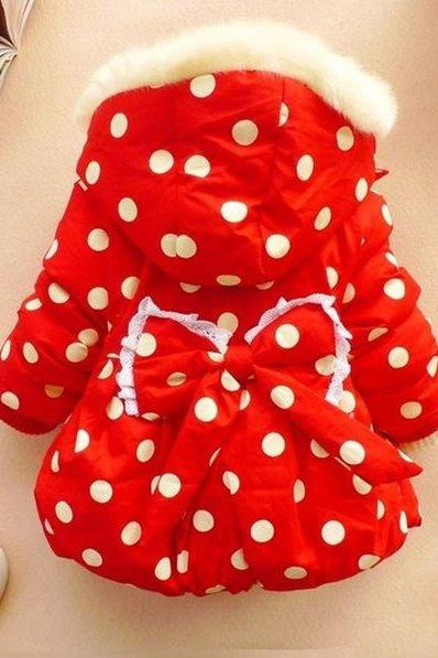 Red Polka Dots Jacket for Infant Girls with Big Bow in the Back Hooded Red Parkas Ready for Shipping