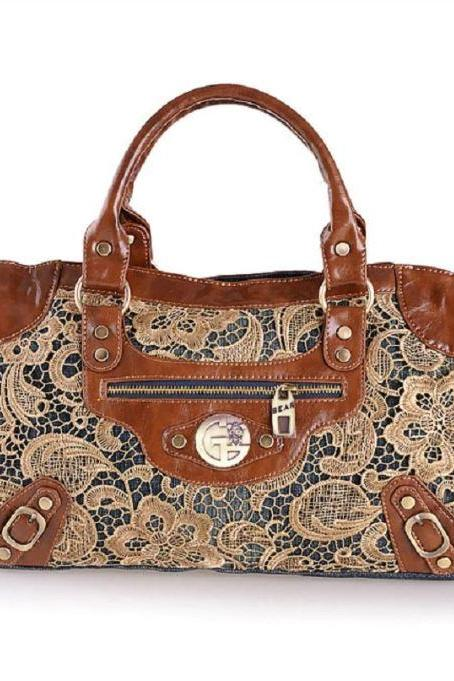 Brown Leather Bags for Women Embroidery Lacy New Handbags Denim Tote Bags-New Fashion Vintage Girls Lace Jeans Denim Women Bags