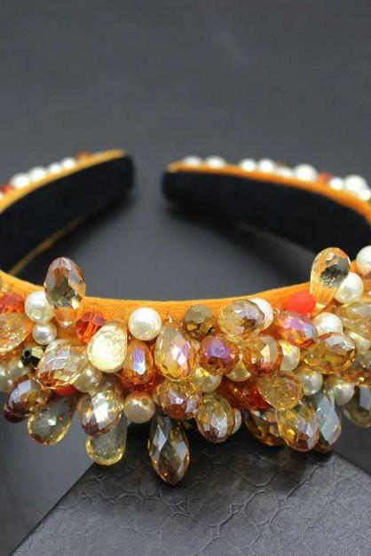 Tall Towering Diamond Headbands for Women Baroque Headbands for Women New Top Quality Royalty Headpieces-Orange Headbands