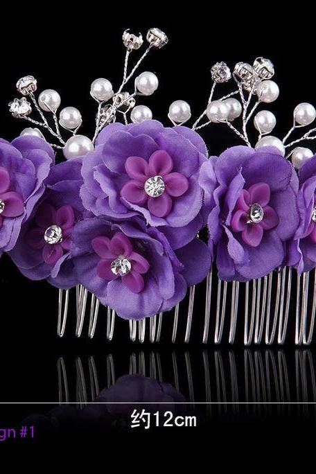 Purple Hair Combs Wedding Party Prom Hair Accessories for Flower Girls Bridesmaids Brides Pageants