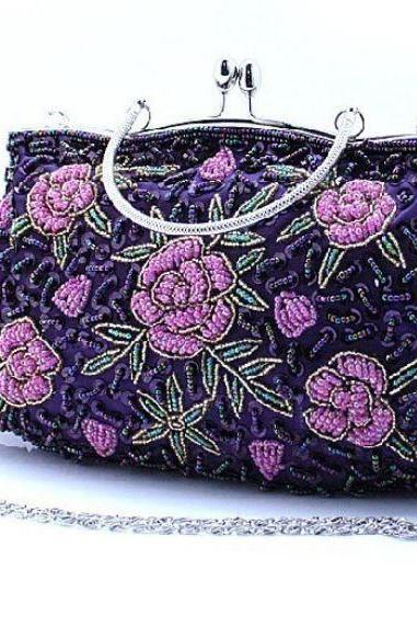 Purple Evening Shoulder Bag Beaded Clutch for Women