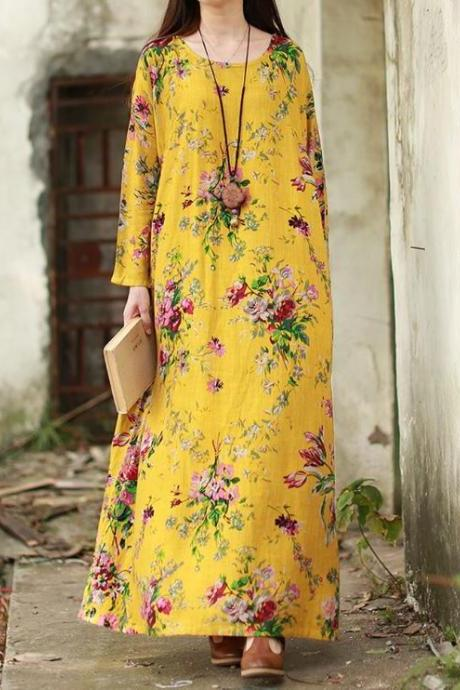 Yellow Dress for Women Plus Sizes Spring Time Dress for Teen Girls and Women Long Sleeve Linen Dress