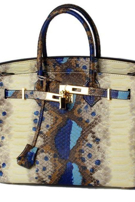 Famous Top Brand Handle Bags Runaway Blue Tote Bags for Women Snake Skin Grain Genuine Leather Handbags
