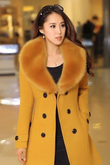 Yellow Coat Jacket with Rich Fox Fur