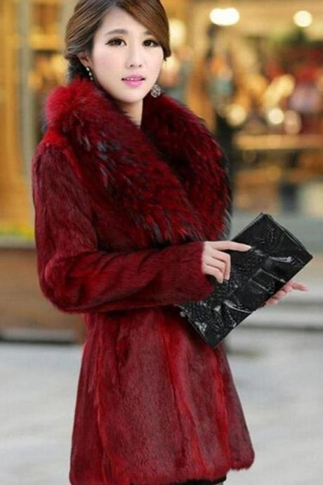 Red Mink Fur Coats with Full Fox Fur Collar Winter Coats