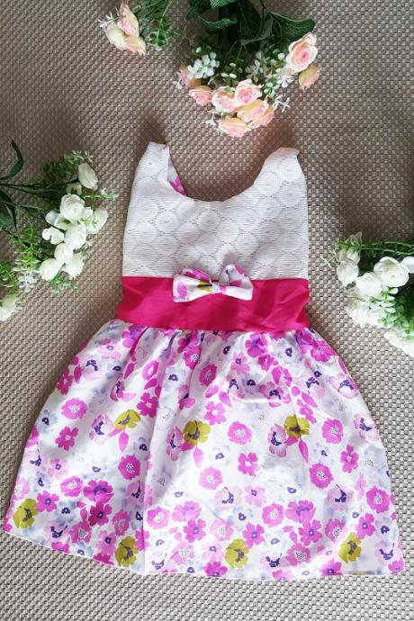 9-12 Months Pink Dress Cotton Printed Pink Floral Sleeveless Dress