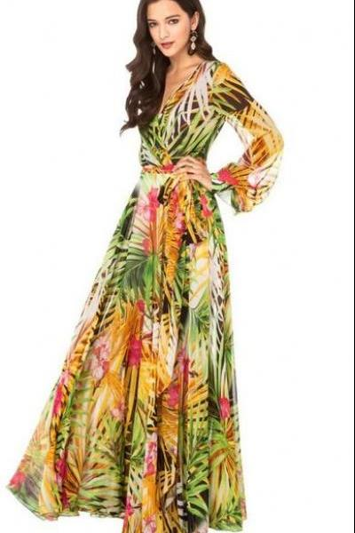 Printed Summer Maxi Dress Green Dress Leaf Leaves Prints Sheer Long Sleeve Flowy Maxi Dresses