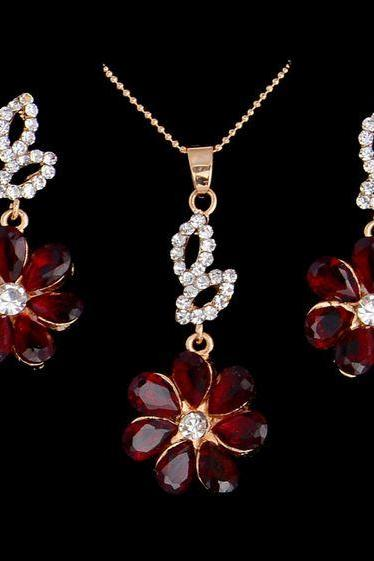 Red Flower Necklace with Matching Red Wine Earrings