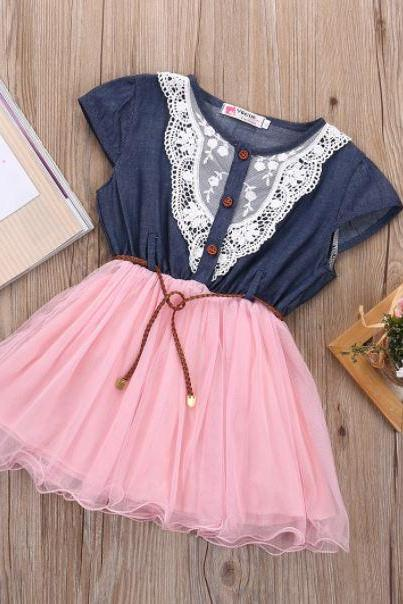 Pink Denim Dress Country Barn Wedding/Country Girls Cowgirl Outfit for 2T,3T,4T