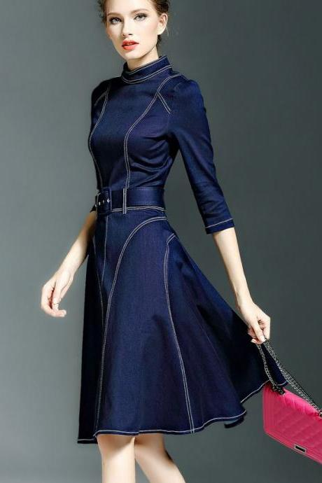 Medium Size Denim Dress for Women Blue Dress Denim Dress High Quality Denim Fashion