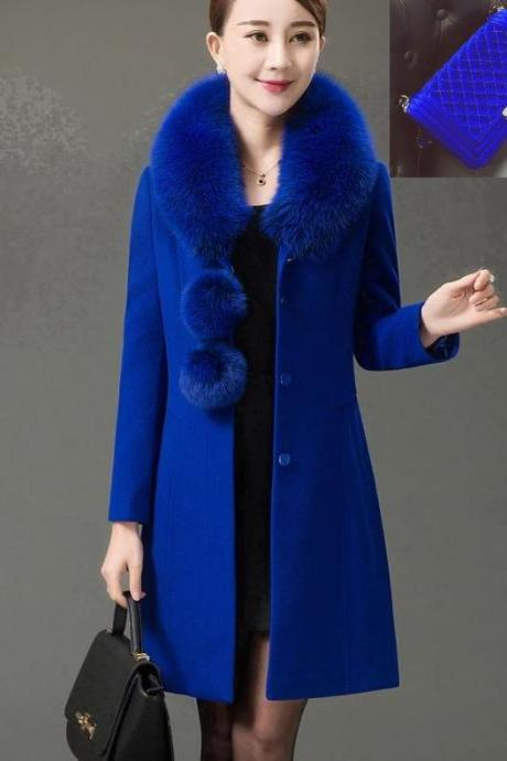 RSS Boutique Royal Blue Trench Coats FREE Royal Blue Bag Winter Overcoats for Women