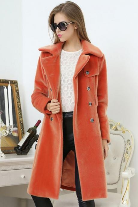 Very Soft Orange Trench Coats for Women is Ready to Ship with FREE Winter Beanies for Women