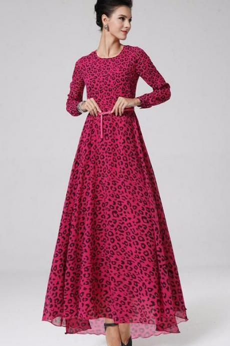 Pink Maxi Dress with Leopard Printes Long Sleeve