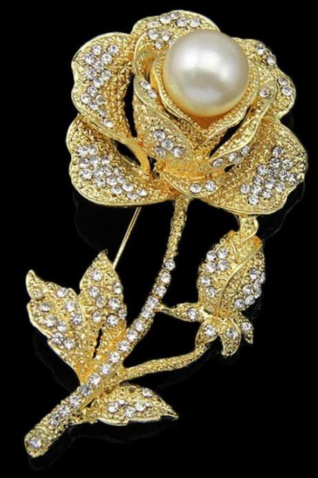 Golden Rose Brooch Wedding Church Pearl Crystals Brooch Gold Brooch Rose Pins