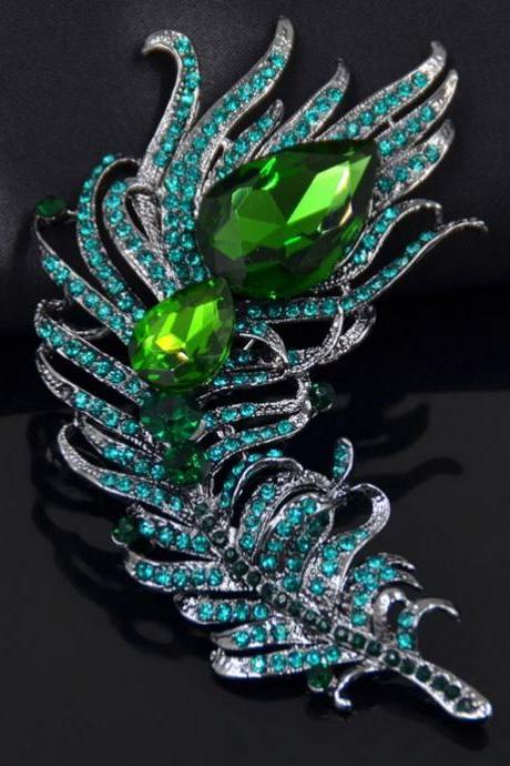 Crystal Rhinestone Brooches Green Peacock Feather Brooch Pins for Women