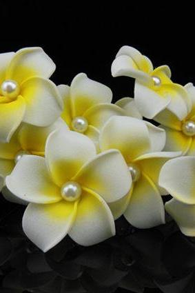 10 White Hair Acessory Plumeria Hawaiian Style White Flower Hair Pins