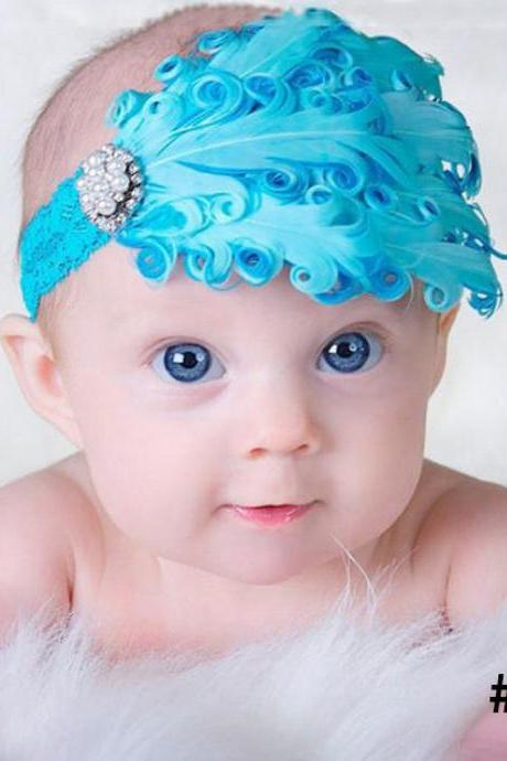1pc Turquoise Blue Headband Newborn Baby Props Feather Hair Accessory Blue Baby Headbands