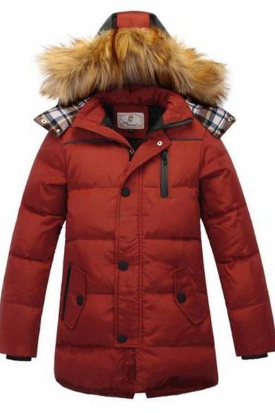 Orange Parka Jacket for Boys Thick Duck Down Hood with Fur
