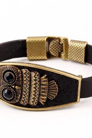 Owl Bracelet for Men Black Leather Charm Bracelet with Bronze Tone