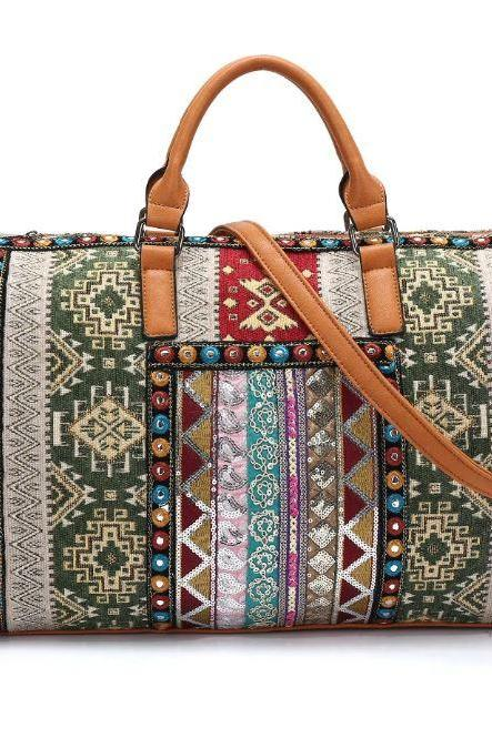 Durable Traveling Bags Ethnic Style RSS Boutique Handmade from Thailand Embroidery Bohemian Tote Bags