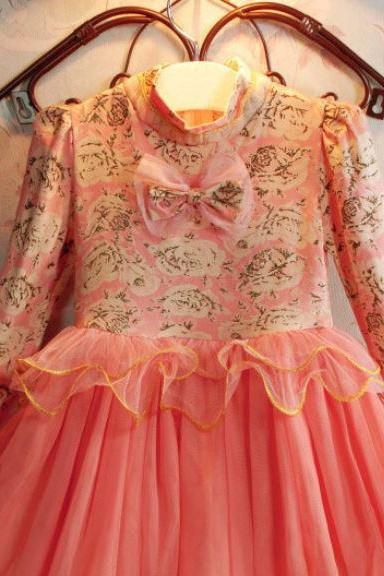 Ready to Ship Pretty Peach Dress for Girls Long Sleeve with Printed Ivory Rose Flowers