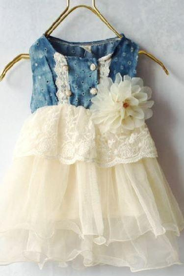 White Dress Ready to Ship Ivory Floral Denim Waist Lace Tutu Dress Denim OFF White