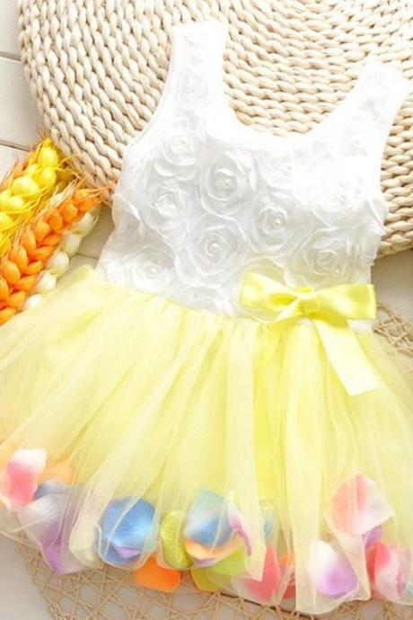 2T Yellow Dress with Petals Casual Rosette Yellow Girls Dress