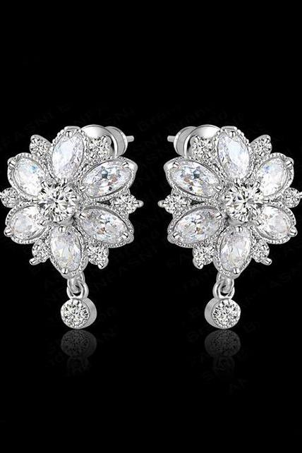 Marquise Cut CZ Diamond Earrings Flower Stud Earrings Wedding Bridal Jewelry
