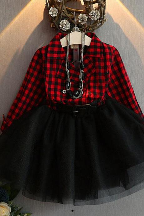 Famous Costume Red Checkered Tutu Dress with Free Checkered Headbands for Little Girls with Belt