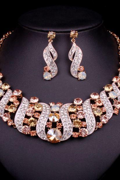 Champagne Bridal Jewelry Sets Statement Choker Necklace Earrings Wedding Prom