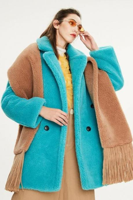Turquoise Clothing Wool Plus Size Teddy Bear Clothing for Winter Oversize Jackets and Blazers for Women FREE Turquoise Earrings