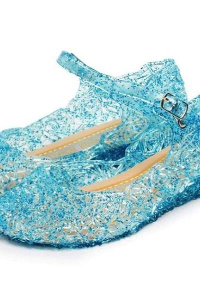 Rsslyn Princess Elsa Shoes with Straps Blue Jelly Shoes for Little Princess Factory Price Blue Shoes with Buckles