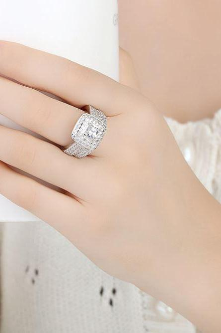 Womens 18K White Gold Plated Ring Set 2 pcs Square Stone Crystal AAA Zircon Stone