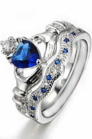 Sapphire Heart Wedding Ring Sets White Gold Crystal AAA CZ Diamond Crown Blue Rings