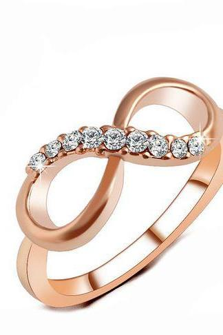 Rose Gold Plated Fine Friendship Zircon Ring Infinity Crystal Rings For Women