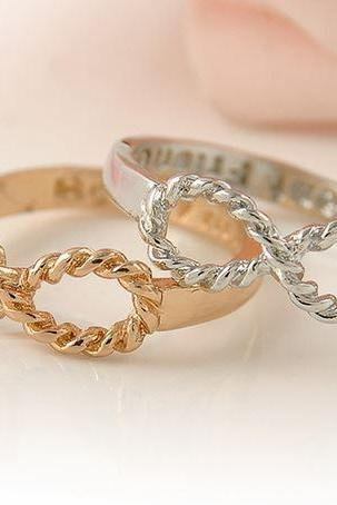 2 Pcs of Infinity Rings Friendship Best Friends Rings Silver and Gold Color