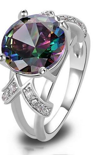 Mystic Rainbow Topaz Rings Multi-Color AAA Silver Ring Fashion Size 6 7 8 9 10