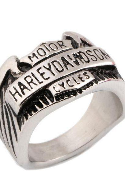 Engraved Rings for Men Stainless Steel Rings Sizes 7,8,9,10,11 Rings for Men Motorcycle Rings
