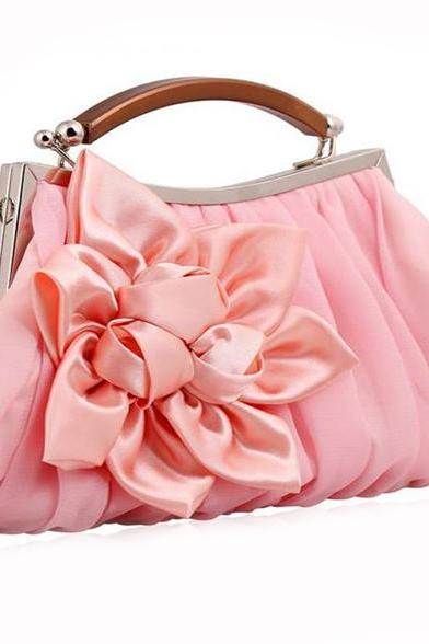 Pink Shoulder Bag Floral Pink Clutch for Bridesmaids Evening Clutch
